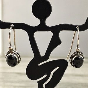 Vintage Sterling Silver Black Onyx Earrings